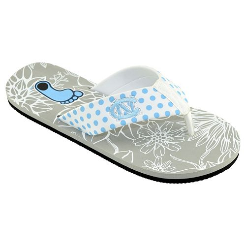 Women's College Edition North Carolina Tar Heels Floral Polka-Dot Flip-Flops