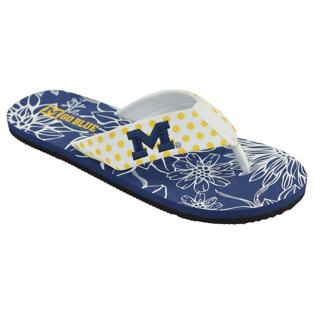 Women's College Edition Michigan Wolverines Floral Polka-Dot Flip-Flops