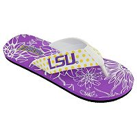 Women's College Edition LSU Tigers Floral Polka-Dot Flip-Flops