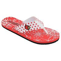 Women's College Edition Louisville Cardinals Floral Polka-Dot Flip-Flops