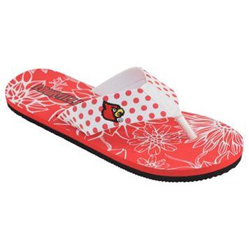 Women's College Edition Louisville Cardinals Floral Polka-Dot Flip-Flops