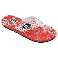 Women's College Edition Georgia Bulldogs Floral Polka-Dot Flip-Flops
