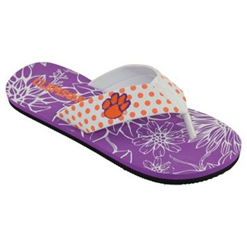 Women's College Edition Clemson Tigers Floral Polka-Dot Flip-Flops