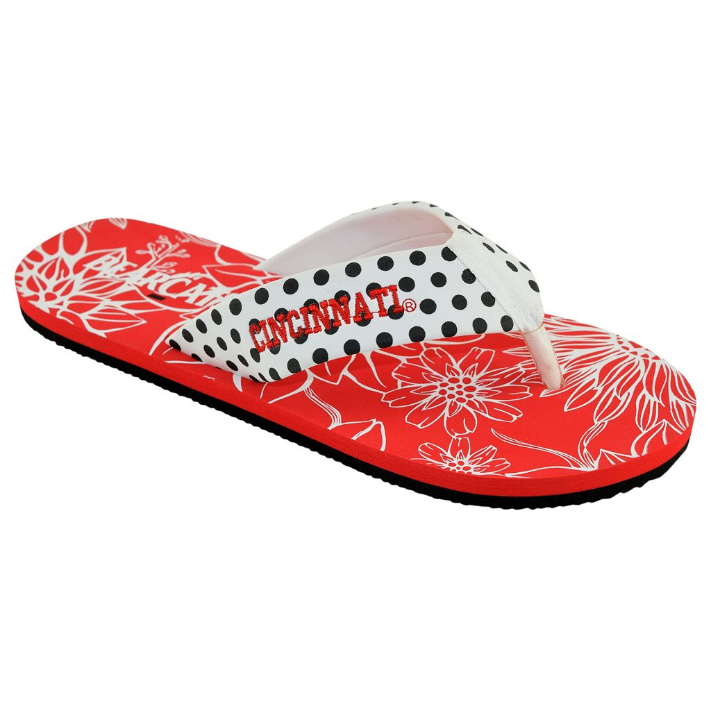 Women's College Edition Cincinnati Bearcats Floral Polka-Dot Flip-Flops
