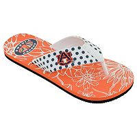 Women's College Edition Auburn Tigers Floral Polka-Dot Flip-Flops