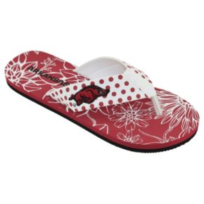 Women's College Edition Arkansas Razorbacks Floral Polka-Dot Flip-Flops