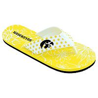 Women's College Edition Iowa Hawkeyes Floral Polka-Dot Flip-Flops