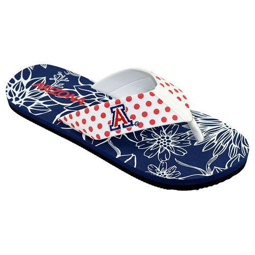 Women's College Edition Arizona Wildcats Floral Polka-Dot Flip-Flops