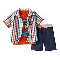 Baby Boy Boyzwear Plaid Shirt, Graphic Tee & Solid Shorts Set