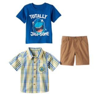Baby Boy Boyzwear Plaid Shirt, Graphic Tee & Shorts Set