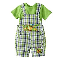 Baby Boy Teenage Mutant Ninja Turtles Plaid Shortalls & Solid Tee Set