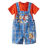 Baby Boy Paw Patrol Chase, Marshall & Rubble Plaid Shortalls & Solid Tee Set