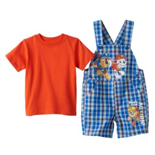 Baby Boy Paw Patrol Chase, Marshall & Rubble Plaid Shortalls & Solid Tee Set