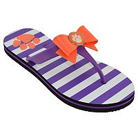Women's College Edition Clemson Tigers Bow Flip-Flops