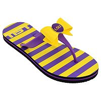 Women's College Edition LSU Tigers Bow Flip-Flops