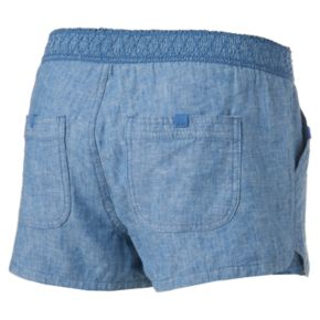 Juniors' Rewind Smocked Linen Shortie Shorts
