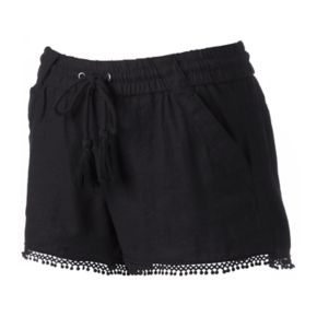 Juniors' Rewind Pom-Pom Hem Linen Shorts