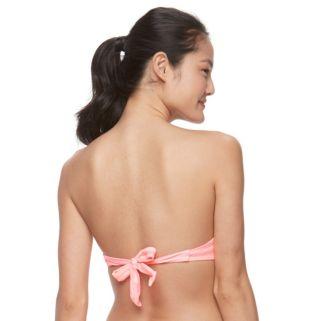 Mix and Match Bust Enhancer Striped Push-Up Bandeau Bikini Top