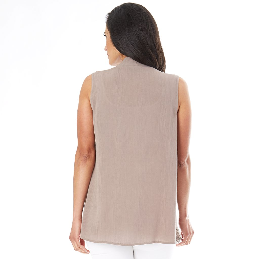 Women's AB Studio Lace-Hem Cozy Vest