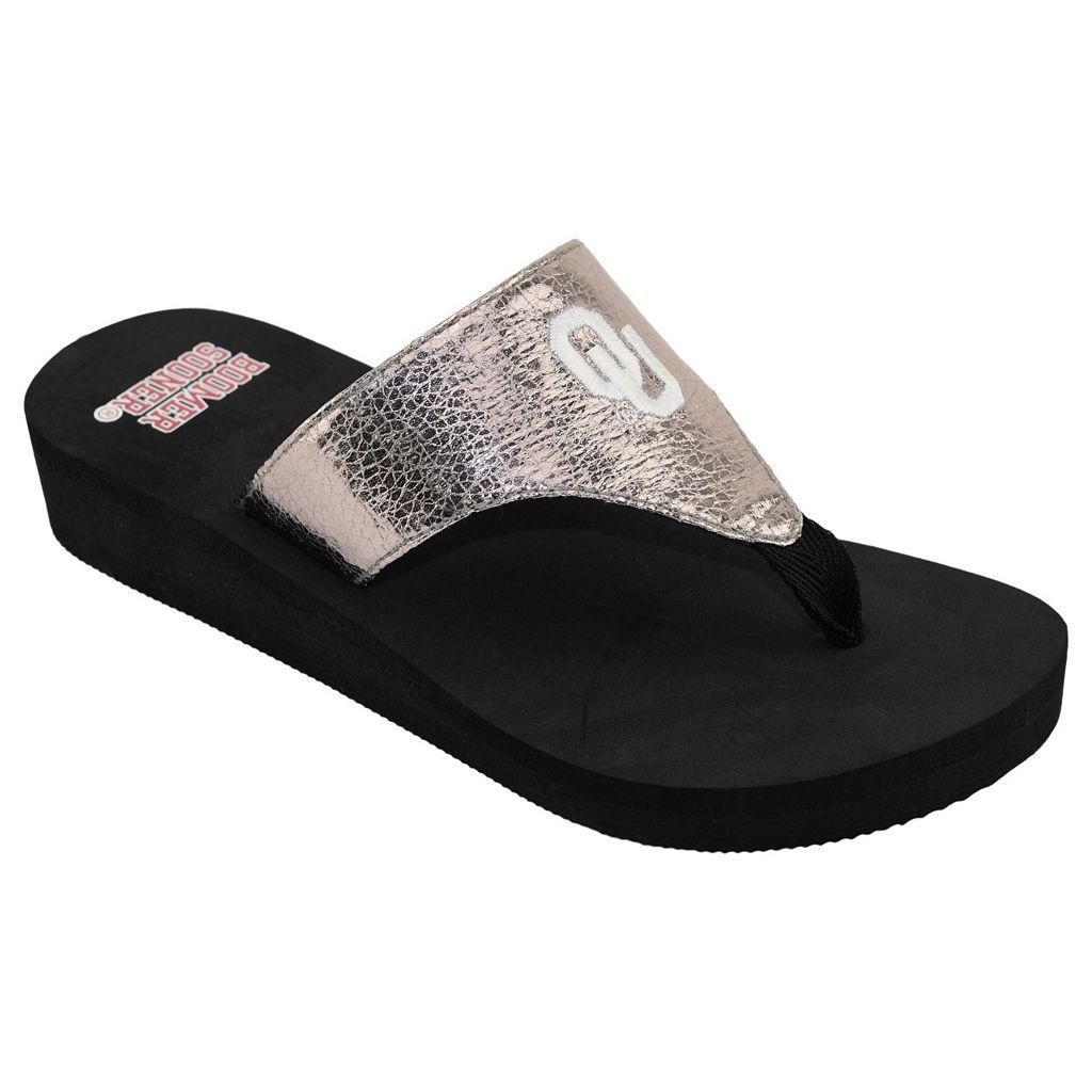 Women's Oklahoma Sooners Shine Platform Flip-Flops