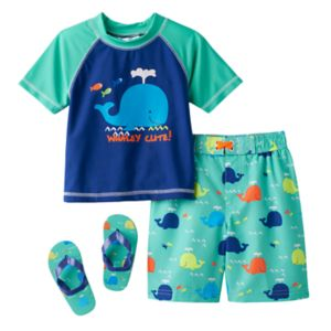 Toddler Boy Wippette Rashguard, Swim Trunks & Flip Flop Sandals Set