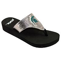 Women's Michigan State Spartans Shine Platform Flip-Flops