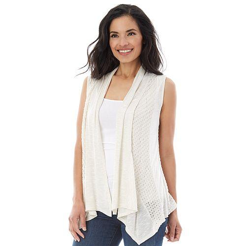 e74544e7b23 Women s AB Studio Pointelle Open-Front Cozy Vest
