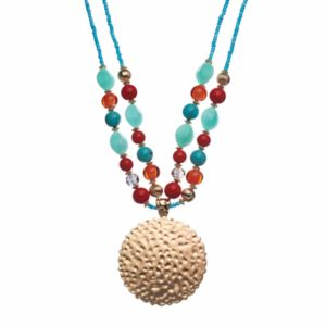 Textured Disc Pendant Beaded Double Strand Necklace