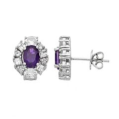Sterling Silver Amethyst & White Topaz Oval Stud Earrings