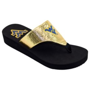 Women's West Virginia Mountaineers Shine Platform Flip-Flops