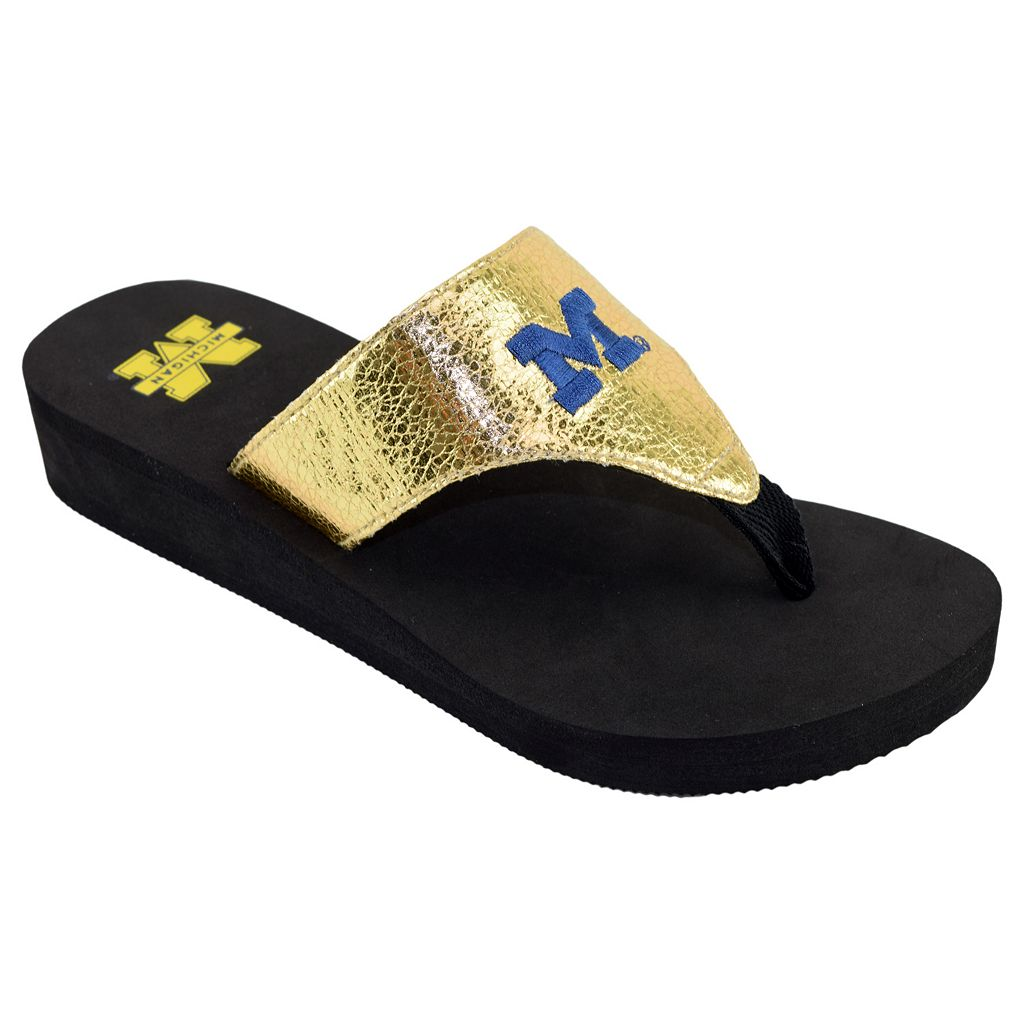 Women's Michigan Wolverines Shine Platform Flip-Flops
