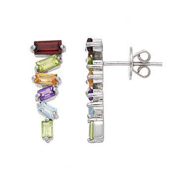 Adora Sterling Silver Gemstone Stick Drop Earrings