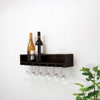 Kiera Grace Claret Wine Bottle & Glass Rack Wall Shelf