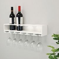 Kiera Grace Claret Wine Bottle & Glass Rack Wall Shelf