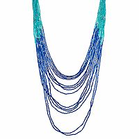 Blue Seed Bead Ombre Layered Necklace