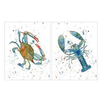 Indigo Lagoon Crab & Lobster Canvas Wall Art 2-piece Set