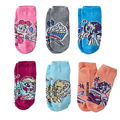 Girls 4-16 My Little Pony Rarity, Twilight Sparkle & Rainbow Dash 6 pkNo-Show Socks