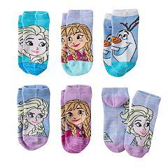 Disney's Frozen Anna, Elsa & Olaf Girls 4-16 6 pkNo-Show Socks