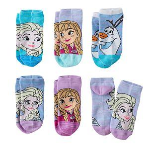 Disney's Frozen Anna, Elsa & Olaf Girls 4-16 6-pk. No-Show Socks
