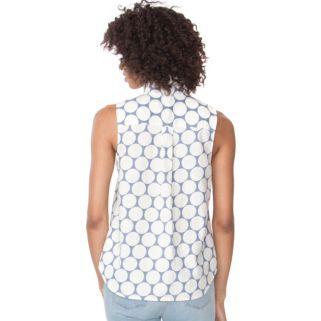 Women's Chaps Dot Linen Blend Shirt