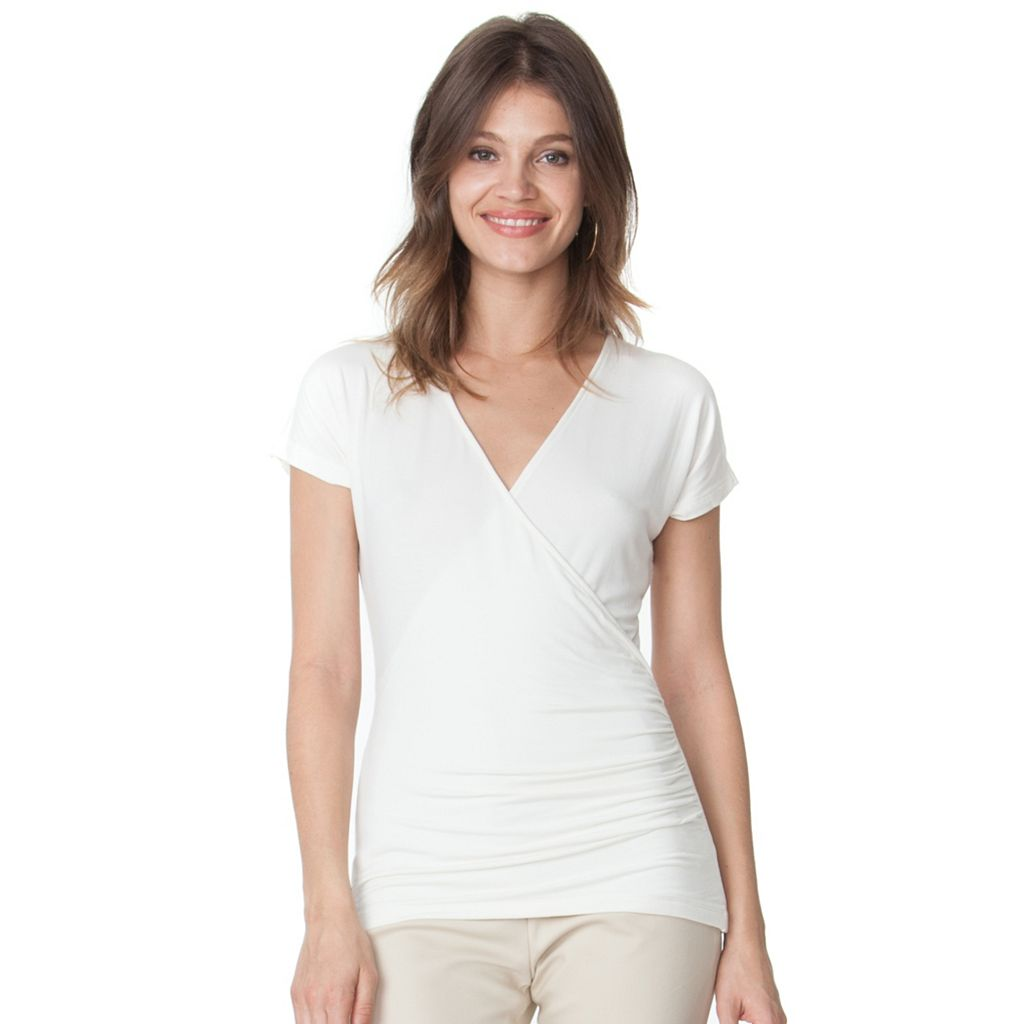 Women's Chaps Surplice Faux-Wrap Tee