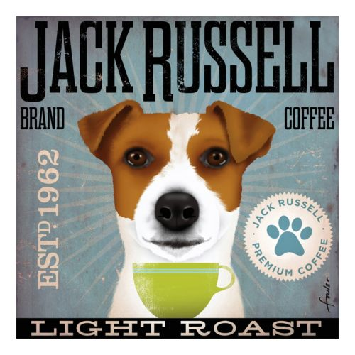 """Jack Russell Coffee"" Canvas Wall Art"