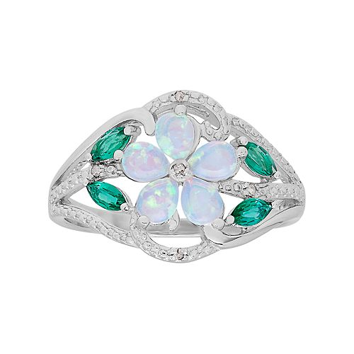Sterling Silver Gemstone & Diamond Accent Flower Ring