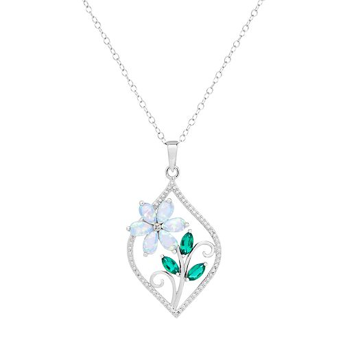 Sterling Silver Gemstone & Diamond Accent Flower Marquise Pendant