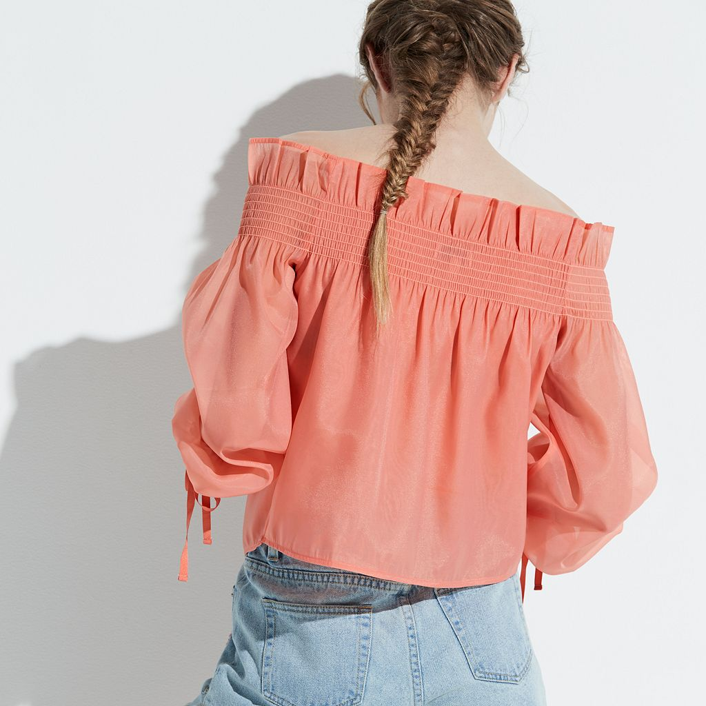 k/lab Smocked Off-the-Shoulder Top