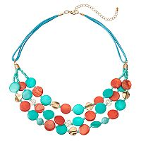 Composite Shell Disc Multi Strand Necklace