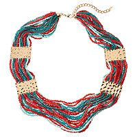 Seed Bead Hammered Plate Multi Strand Chunky Necklace