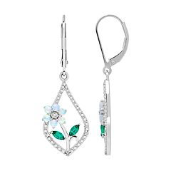 Sterling Silver Lab-Created Opal, Emerald & Diamond Accent Flower Earrings