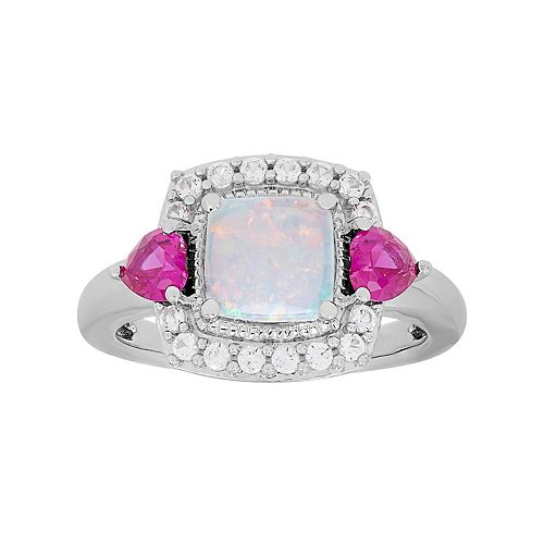 Sterling Silver Gemstone Square Halo Ring