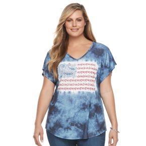 Plus Size World Unity Tie-Dye Flag Tee